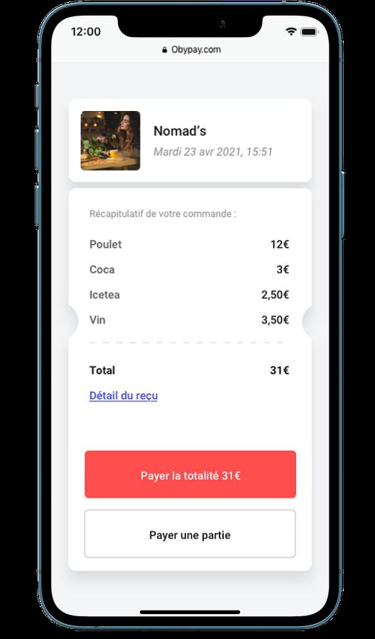 Paiement de l'addition sur smartphone avec Obypay